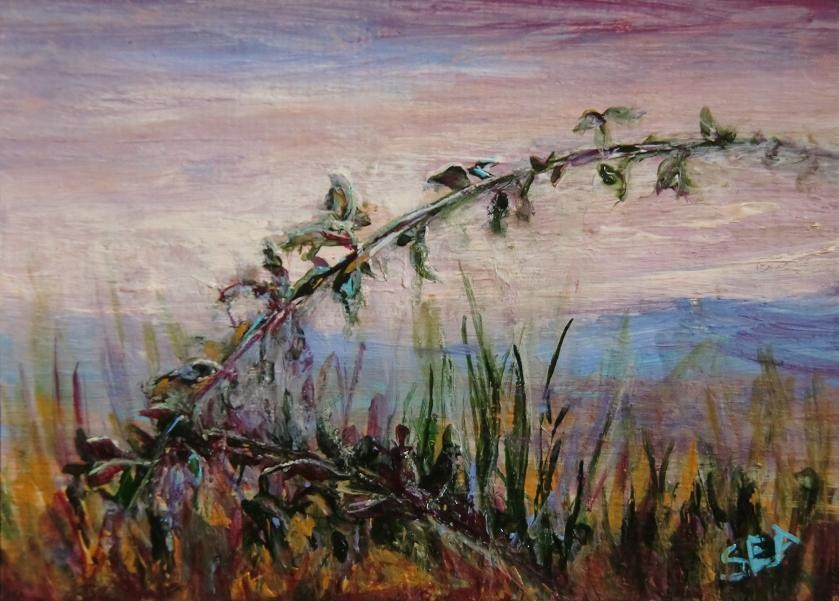 """3045 - BERRY BRANCH - ACEO Series"" original fine art by Sea Dean"