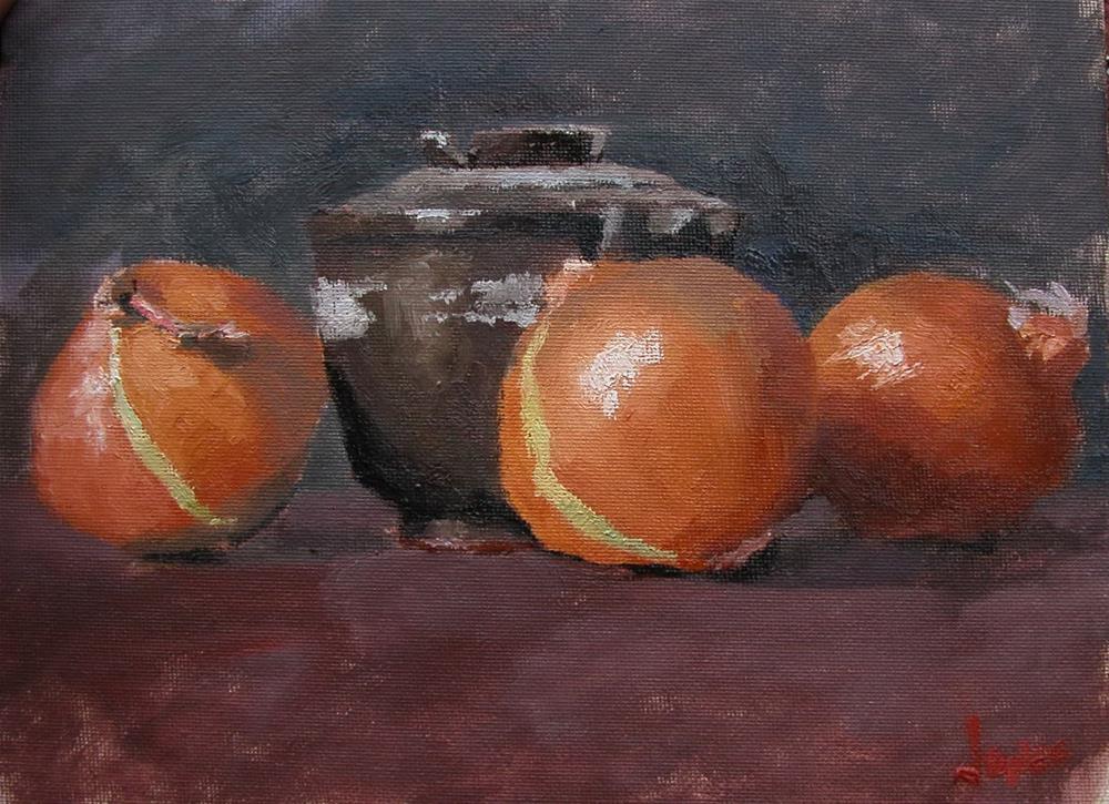 """Onions and Antique Bowl"" original fine art by Richard Jones"
