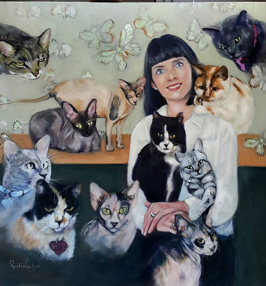 """I love cats"" original fine art by Rentia Coetzee"