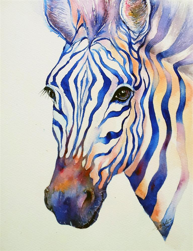 """Intense Blue zebra"" original fine art by Arti Chauhan"