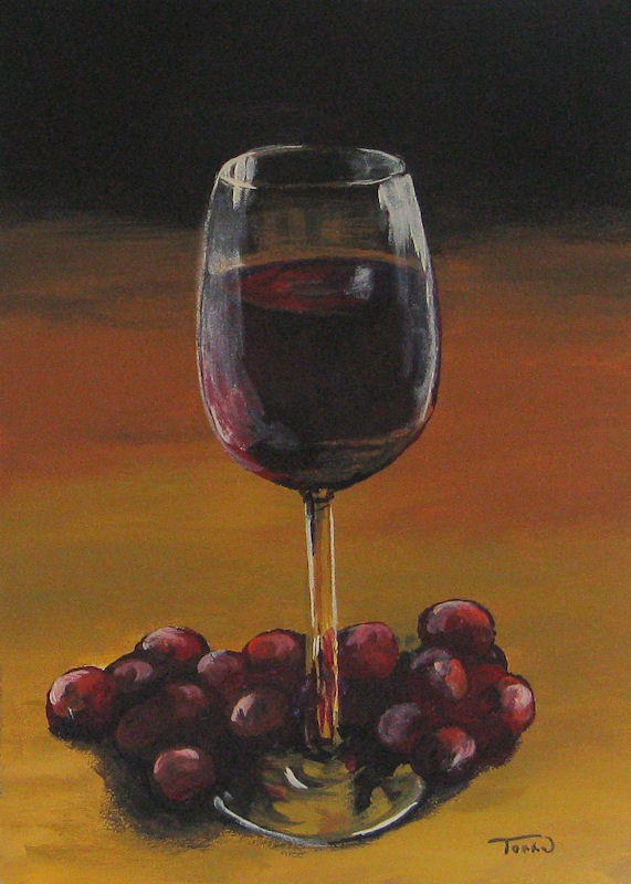 """Red Wine and Red Grapes"" original fine art by Torrie Smiley"