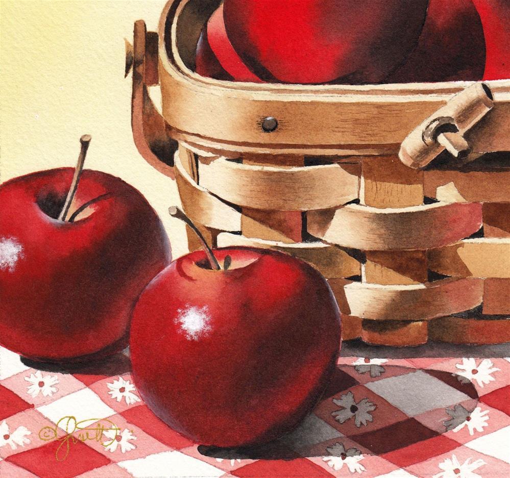 """""""Apples & Basket"""" original fine art by Jacqueline Gnott, whs"""