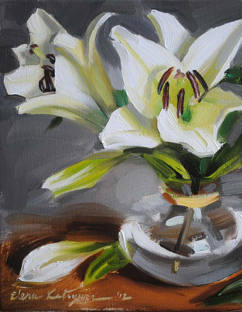 """White Lilies"" original fine art by Elena Katsyura"
