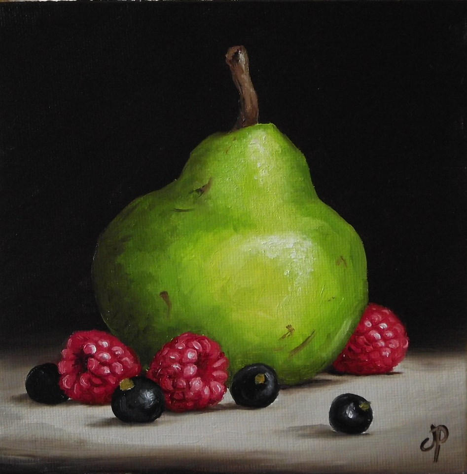 """Pear with Summer Fruits"" original fine art by Jane Palmer"