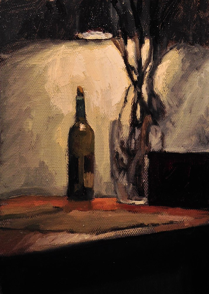 """Still life with empty wine bottle"" original fine art by Chris Beaven"