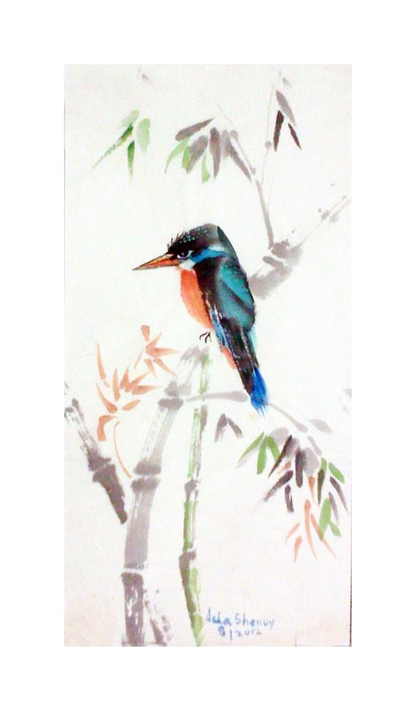 """Kingfisher on a branch"" original fine art by Asha Shenoy S"