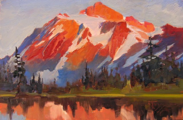 """Mt Shuksan Evening Light  plein air landscape painting by Robin Weiss"" original fine art by Robin Weiss"