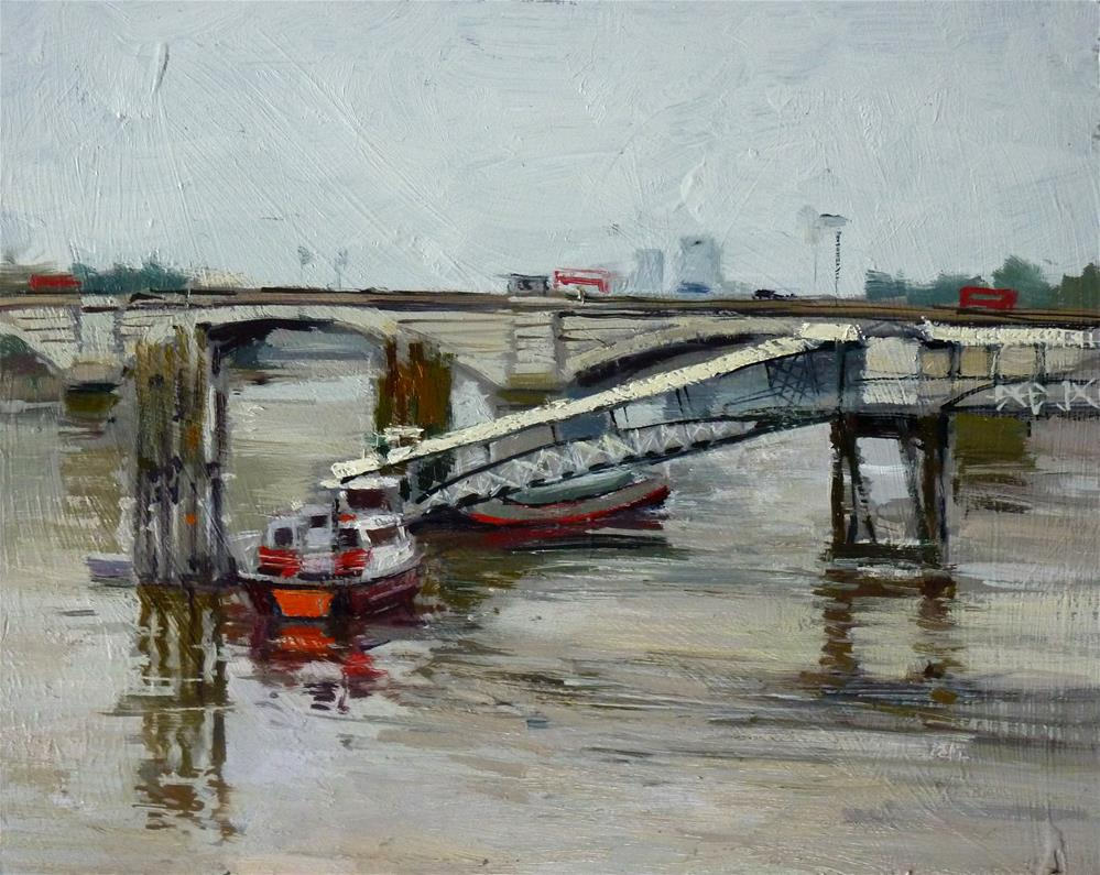 """Grey Day, Putney Bridge"" original fine art by Adebanji Alade"