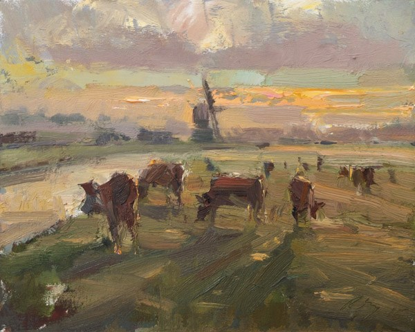 """Windmill and Cows in the Morning"" original fine art by Roos Schuring"