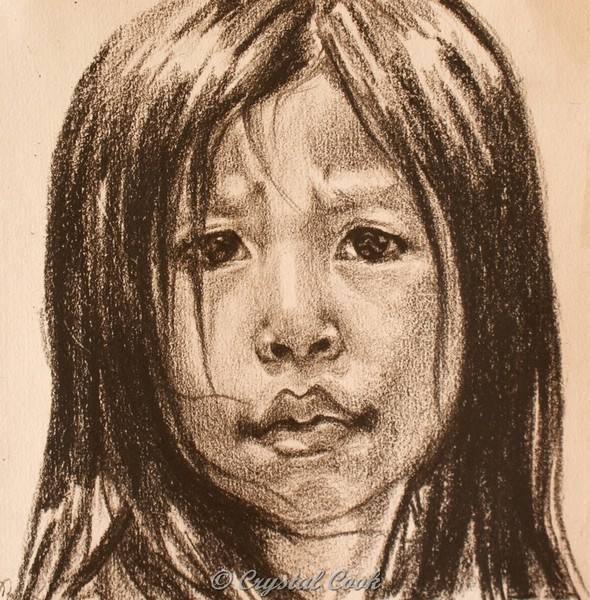 """Undecided - Southeast Asian girl"" original fine art by Crystal Cook"