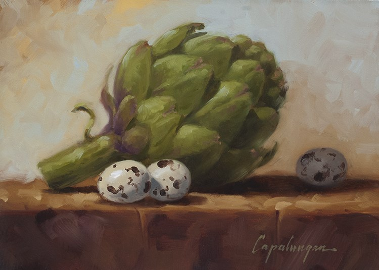 """Artichoke And Quail Eggs"" original fine art by David Capalungan"