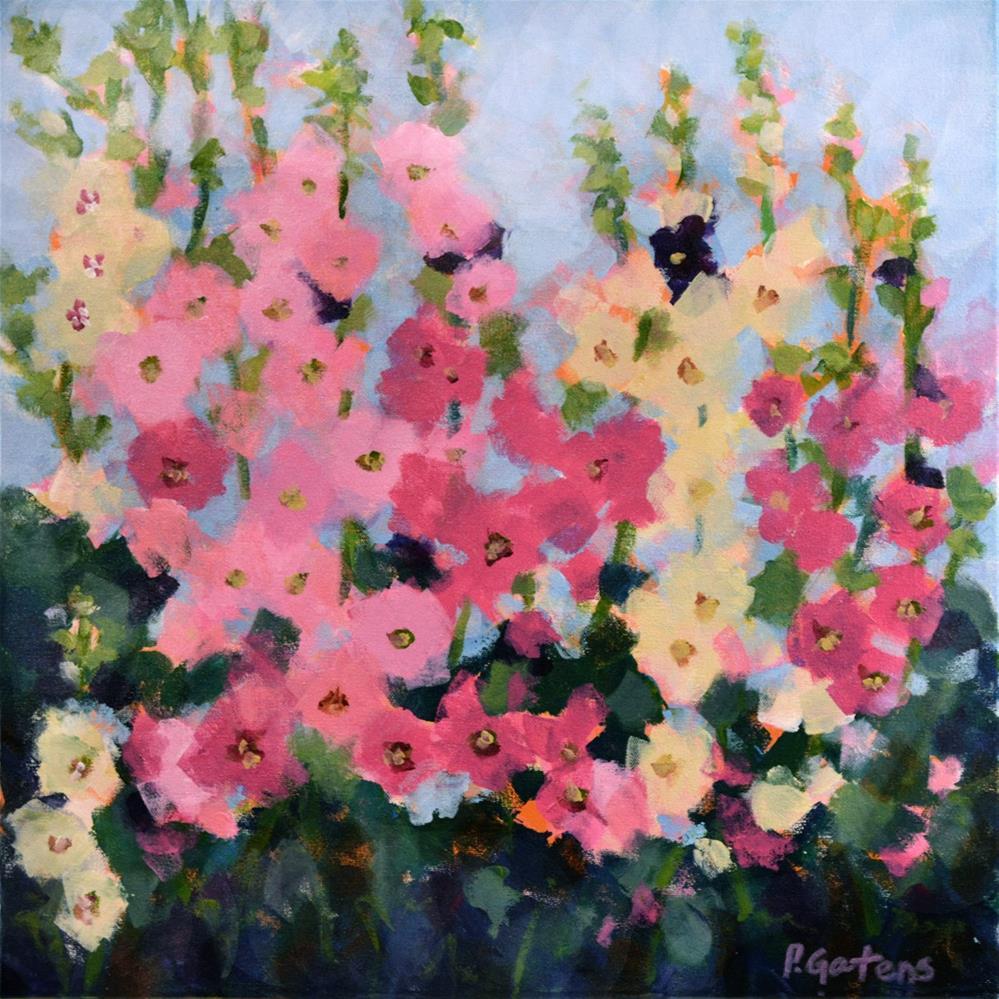 """Pink Hollyhock Garden"" original fine art by Pamela Gatens"