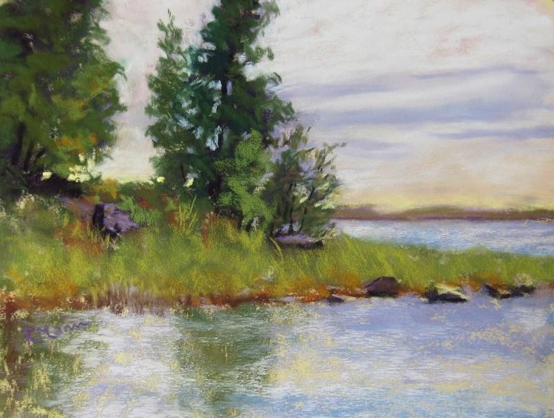 """""""Beach View (Plein air)"""" original fine art by Ruth Mann"""