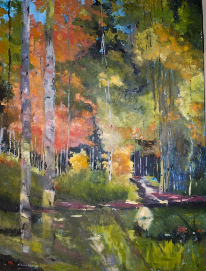 """KM2897 Sacred Shadows by Colorado artist Kit Hevron Mahoney (48x36 original oil landscape, abstract,"" original fine art by Kit Hevron Mahoney"