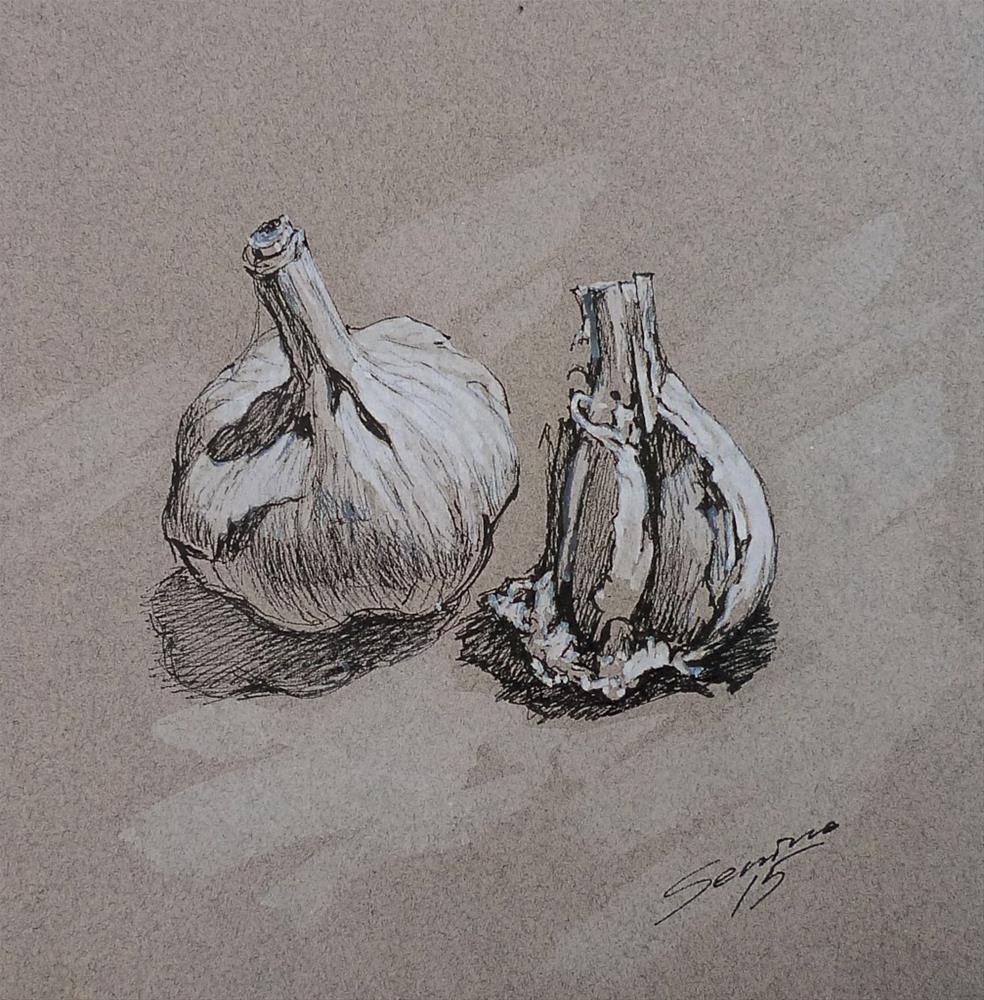 """Garlic"" original fine art by Elena Senina"