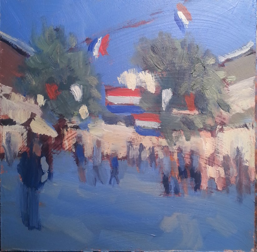 """Festival Summer Street Fair Original Daily Oil Painting"" original fine art by Heidi Malott"