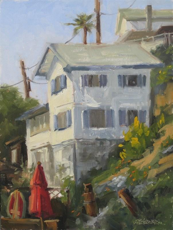 """""""Beach Cottage, Crystal Cove"""" original fine art by Karen Werner"""