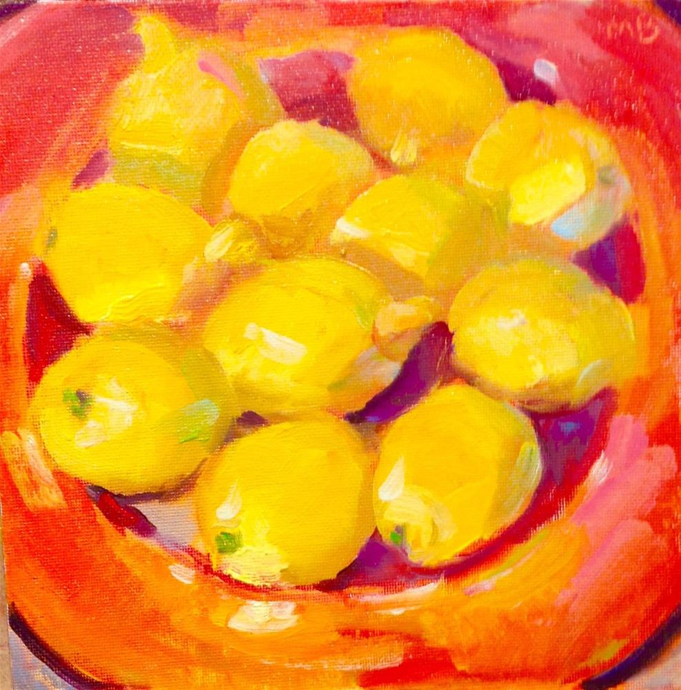 """Lemons in Red Bowl"" original fine art by Marcia Bergtholdt"