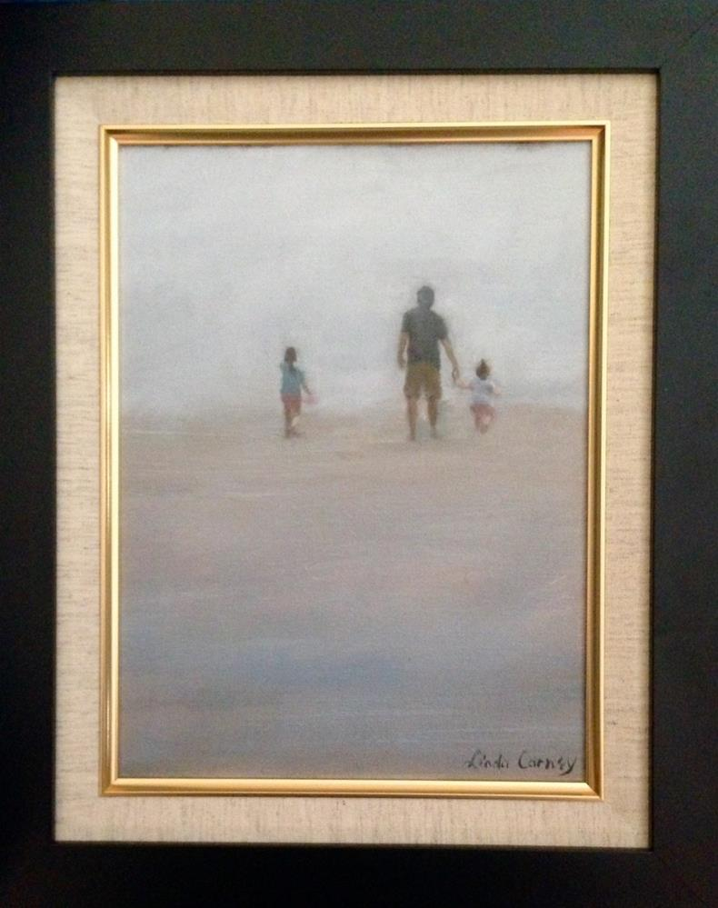 """Foggy Beach"" original fine art by Linda Carney"