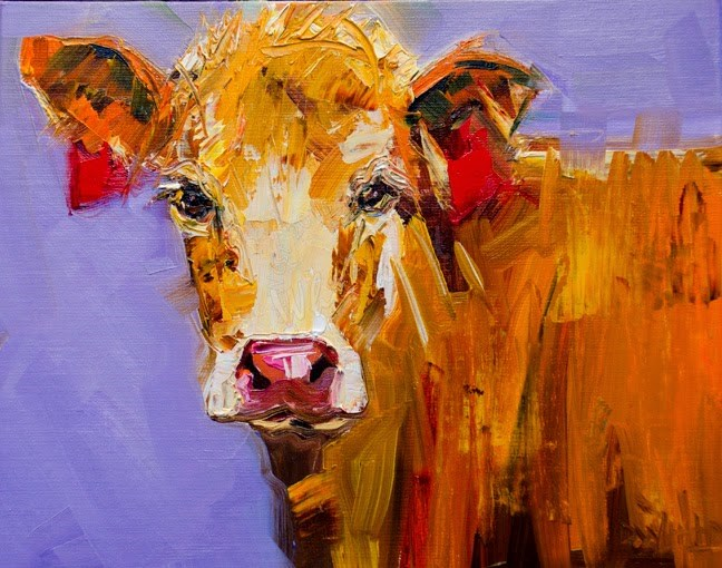 """ARTOUTWEST Cow Oil Painting Original Diane Whitehead"" original fine art by Diane Whitehead"