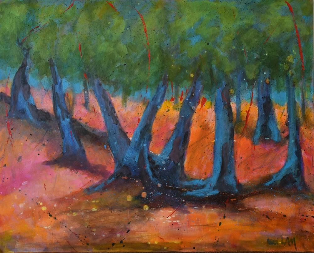 """'Telling Tales', 24 x 30, mixed media/acrylic on canvas"" original fine art by Ceci Lam"