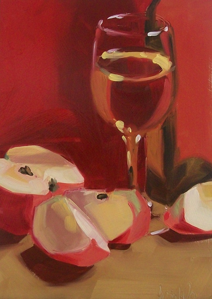 """red apples and wine"" original fine art by Brandi Bowman"
