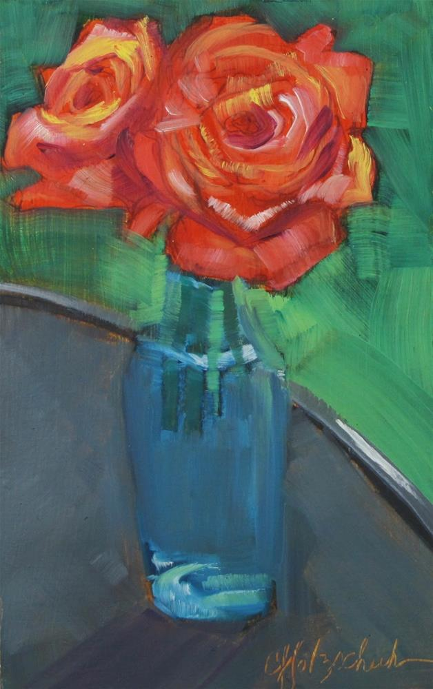 """Roses in Bottle"" original fine art by Christine Holzschuh"