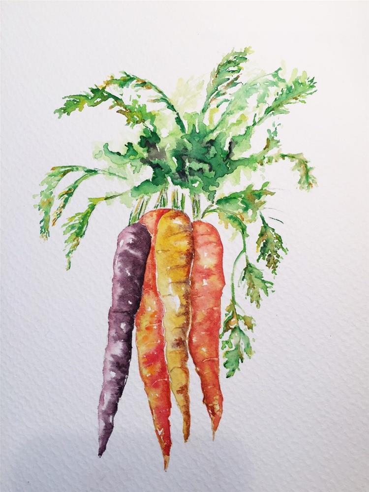 """Heirloom carrots"" original fine art by Sandra Cameron"