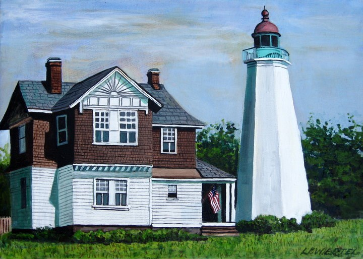 """Old Point Comfort Lighthouse, Fort Monroe, VA"" original fine art by Lisa Wiertel"