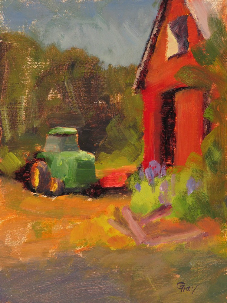 """Green Tractor & Red Barn"" original fine art by Naomi Gray"
