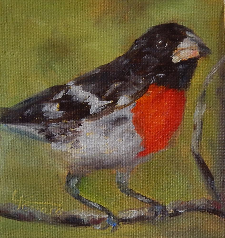 """Rosebreasted Grosbeak"" original fine art by Lina Ferrara"