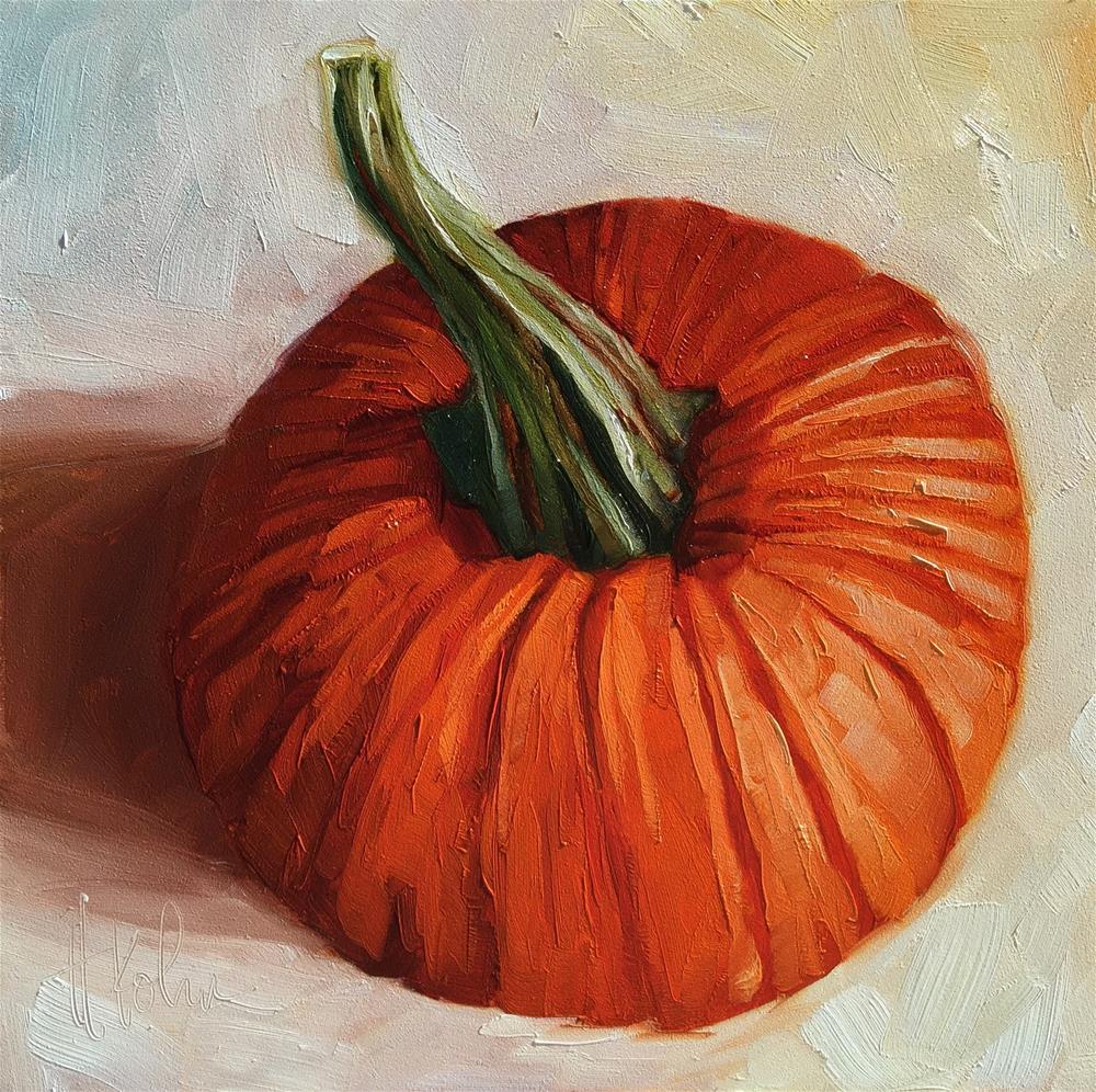 """Unpretentious Pumpkin"" original fine art by Hallie Kohn"