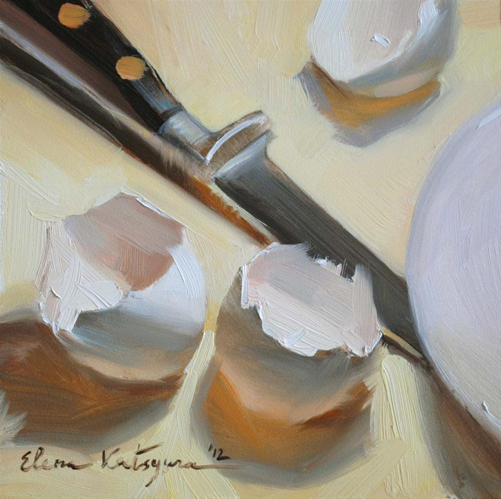 """Making an Omelette"" original fine art by Elena Katsyura"