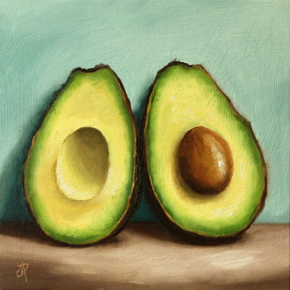 """Avocado halves"" original fine art by Jane Palmer"