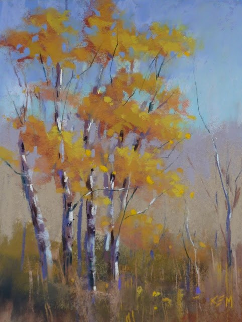 """Sunday Studio Pastel Demo Video: Painting Aspens with Terry Ludwig's Stunning Yellows"" original fine art by Karen Margulis"