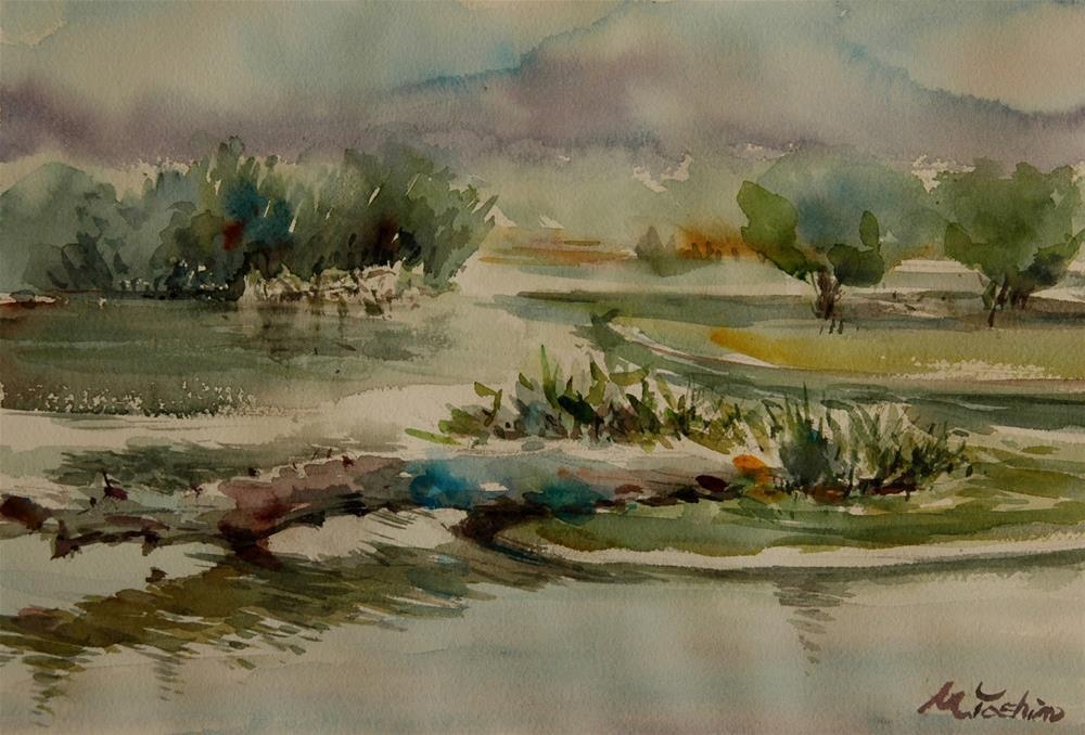 """Sharjah Wet Land.  UAE"" original fine art by Midori Yoshino"