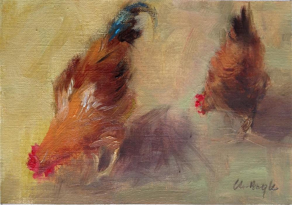 """2 Hens"" original fine art by Christine Bayle"