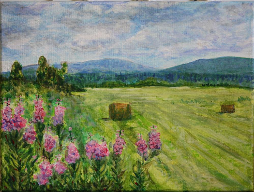 """Fireweed and Hay"" original fine art by Terri-Anne Barge"