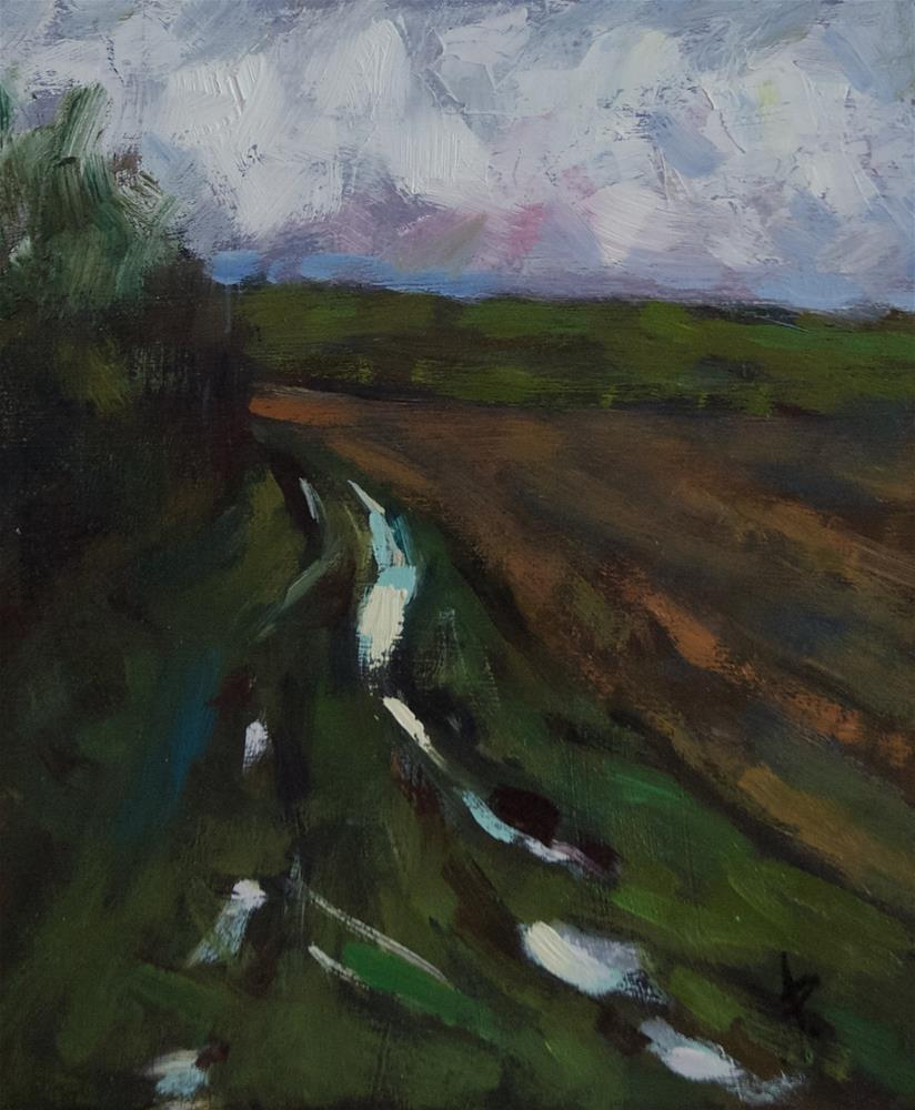 """""""Track with Puddle"""" original fine art by Andre Pallat"""