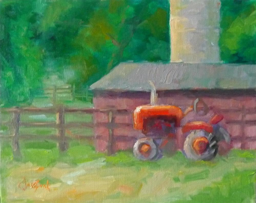 """Red Tractor"" original fine art by Carol Josefiak"