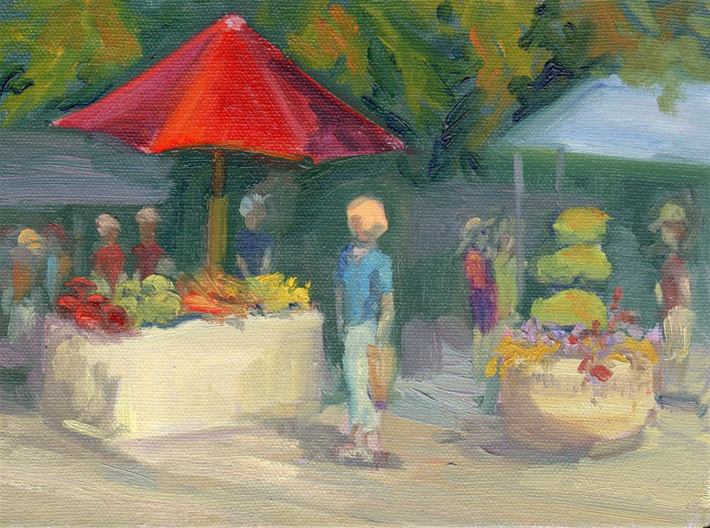 """RED MARKET UMBRELLA"" original fine art by Karen E Lewis"