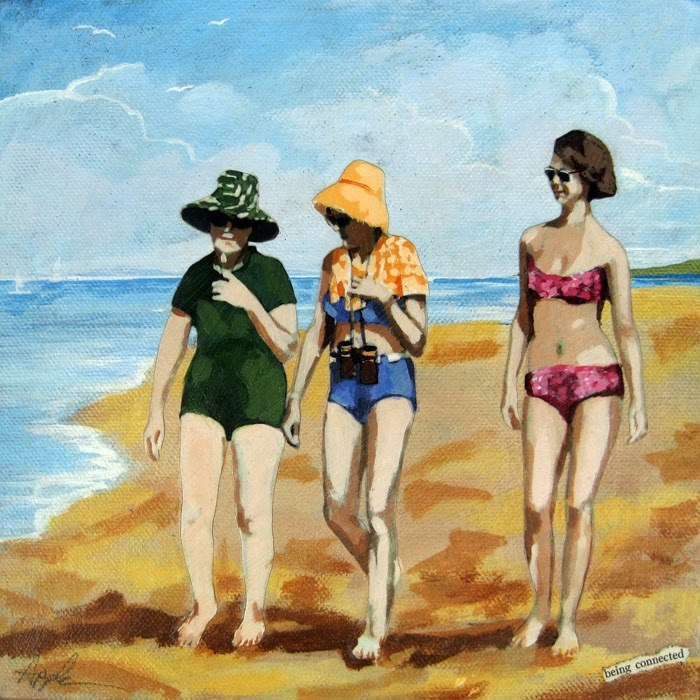"""Being Connected - women on the beach mixed media painting"" original fine art by Linda Apple"