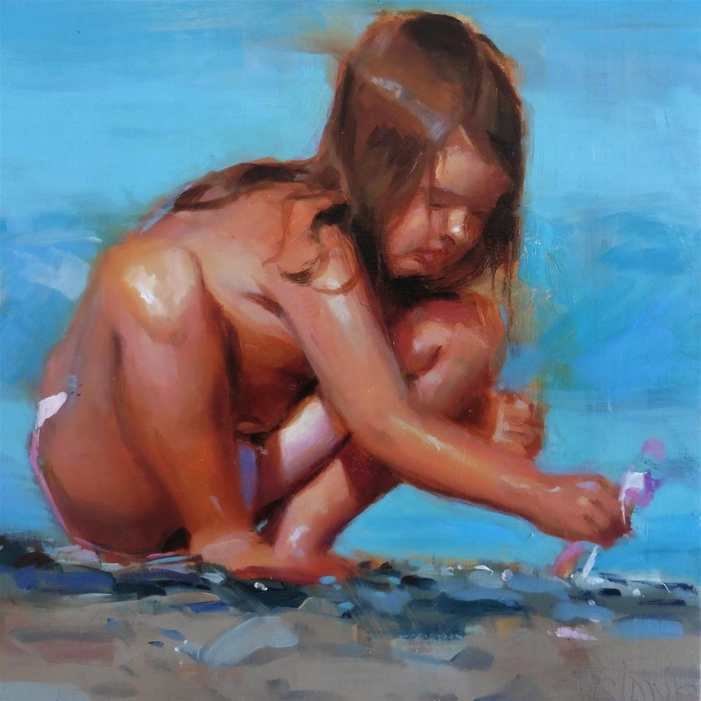 """Girl playing"" original fine art by Víctor Tristante"