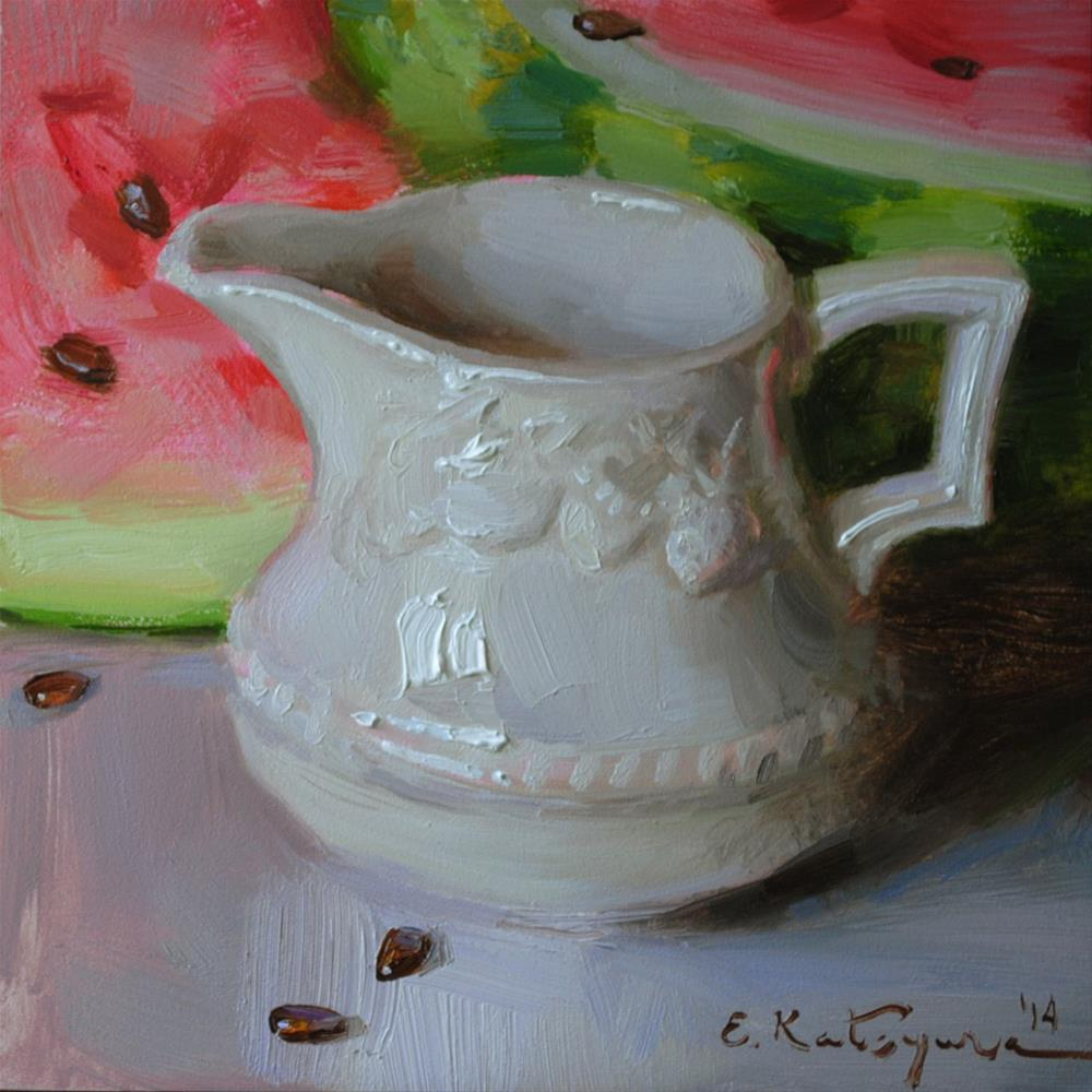 """Creamer and Watermelon"" original fine art by Elena Katsyura"