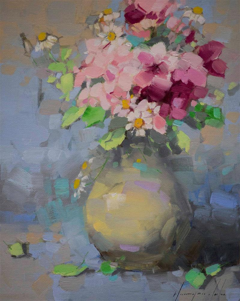"""Vase of Flowers Original oil Painting Handmade art"" original fine art by V Yeremyan"