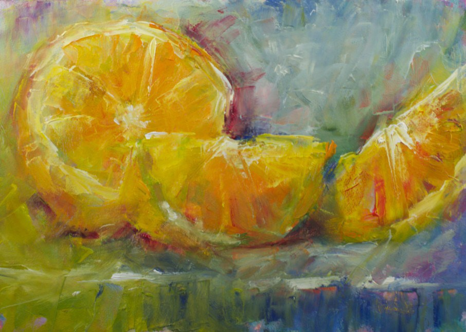 """Colorful Orange Slices"" original fine art by Sue Churchgrant"