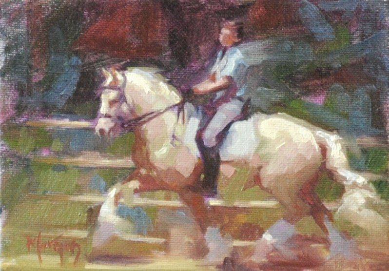 """Dressage #2"" original fine art by Cecile W. Morgan"