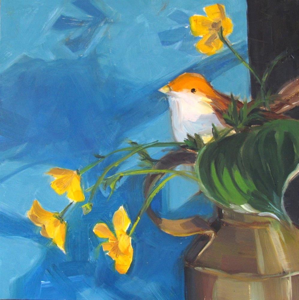 """Bird and Buttercups on Blue"" original fine art by Lynne Schulte"