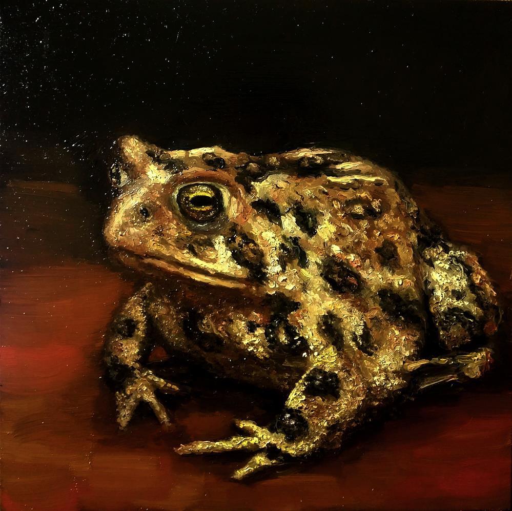 """Yellow toad"" original fine art by Aleksandra Uzarek"