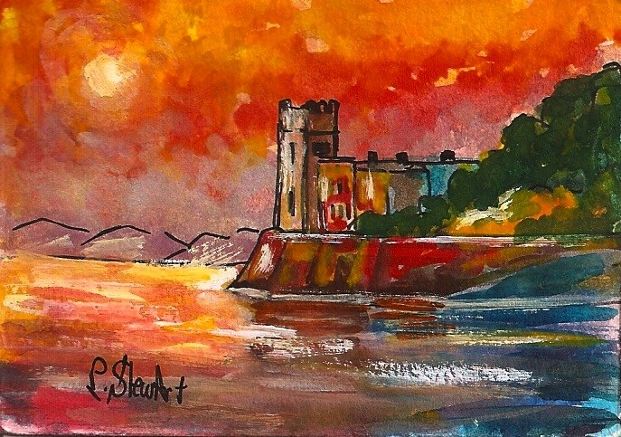 """ACEO Castle by Sea Reflections Bright Color Sunset Landscape Penny StewArt"" original fine art by Penny Lee StewArt"